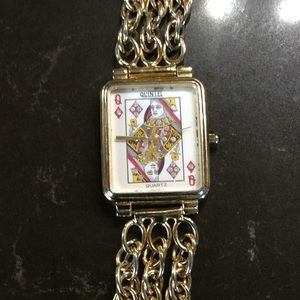 Vintage quintel queen playing card bling watch